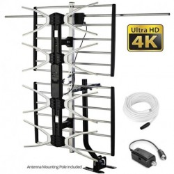 HD TV Antenna Outdoor Antenna Digital Antenna Amplified Antenna 150 Mile Long Range Antenna High Gain for UHF/VHF with Mounting Pole & 40FT RG6 Coaxial Cable - Easy Installation