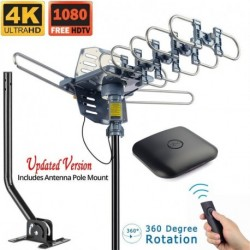 Outdoor Antenna Digital HDTV Antenna Amplified TV Antenna  Motorized 360 Degree Rotation with 40FT RG6 Coax Cable & Mounting Pole UHF/VHF/1080P Snap-On Installation
