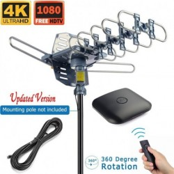 Outdoor Antenna Digital HDTV Antenna Amplified TV Antenna Motorized 360 Degree Rotation with 40FT RG6 Coax Cable - UHF/VHF/1080P Snap-On Installation