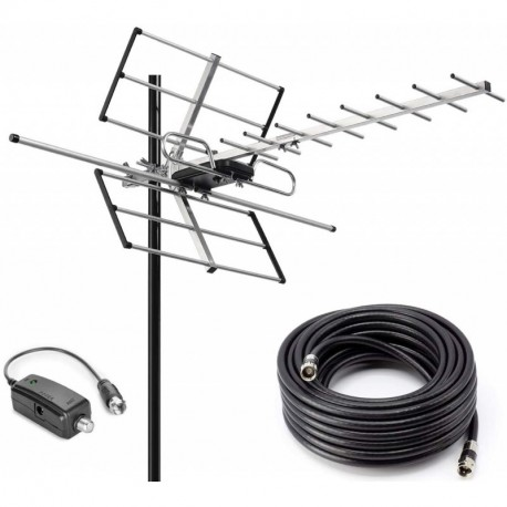 Outdoor Digital Amplified Yagi HDTV Antenna, Built-in High Gain and Low Noise Amplifier, 40FT RG6 Coaxial Cable, 120 Miles Range with UHF and VHF Signal