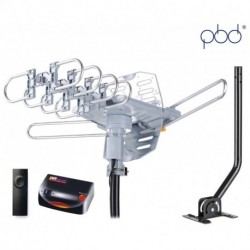 PBD Digital Amplified Outdoor HD TV Antenna with Mounting Pole & 40 ft RG6 Cable, 150 Miles Range, 360 Degree Rotation, Wireless Remote, Support 2 TVs